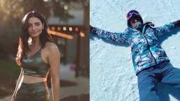 Aislinn Derbez fue a dar al suelo durante su clase de snowboarding y Vadhir lo grabó todo