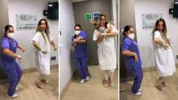 Antes de dar a luz, Jenny García se aventó bailecito con enfermera en el hospital
