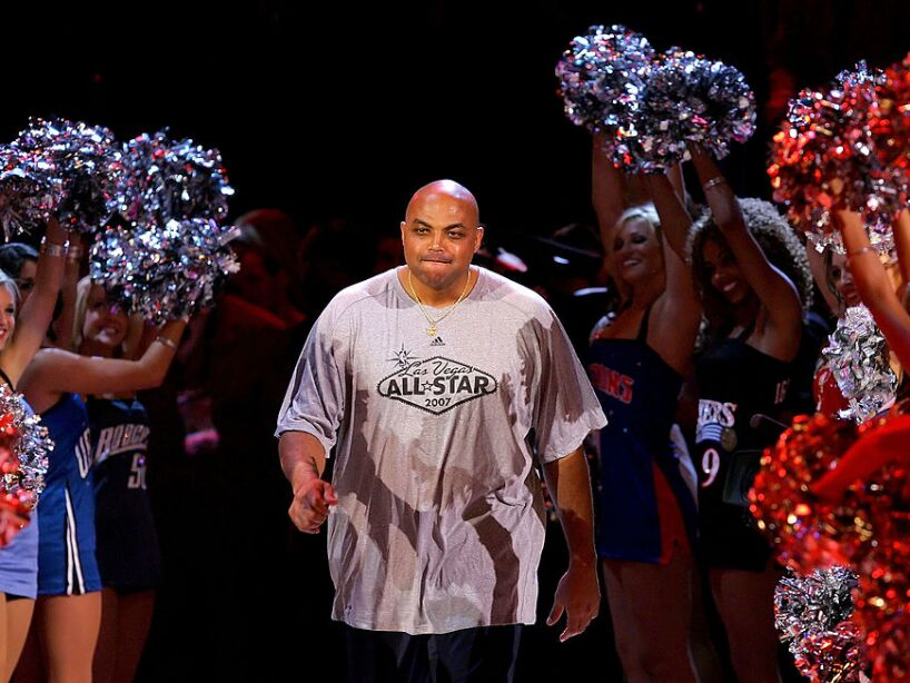 Charles Barkley Competes Against Dick Bavetta In A Foot Race