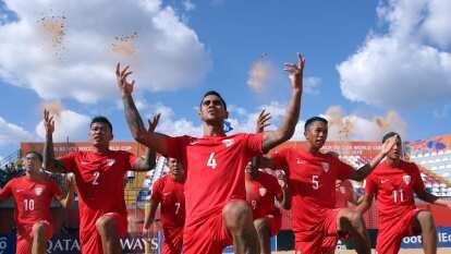 Tahití golea 6-1 a México y los deja prácticamente fuera del Mundial de playa Paraguay 2019.