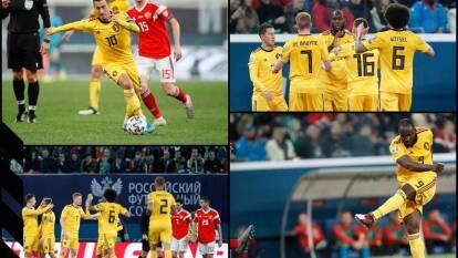 Rusia concluye en el segundo lugar del Grupo I y ambas escuadras tienen lugar asegurado en la Euro 2020. T. Hazard (19'), E. Hazard (33', 40'), Lukaku (72') anotaron por los visitantes. Dzhikia (79') anotó el descuento.