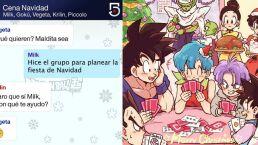Conversación cena navideña de Dragon Ball