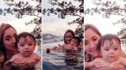 'Mi sirenito': Así es cómo Sherlyn le enseña a nadar a su bebé André