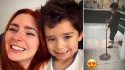 Ariadne Díaz se conmueve al ver a su hijo ayudándole con la limpieza de la casa