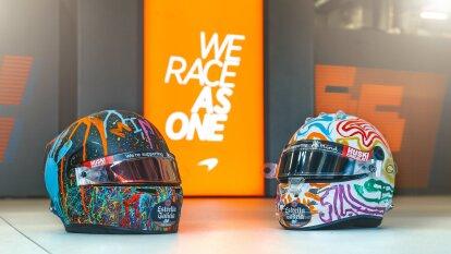 Carlos Sainz y Lando Norris usan cascos con causa