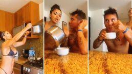 Kimberly Flores le da a probar a Edwin Luna 'agua de calzón' al ritmo del baile de la amarración
