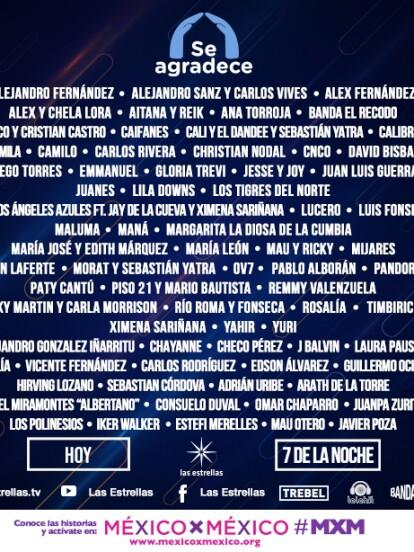 Con el fin de realizar un merecido homenaje a los héroes de esta pandemia, Televisa reunirá a grandes celebridades del mundo de la música este sábado 30 de mayo en el concierto 'Se agradece'. A continuación te compartimos algunas de las colaboraciones musicales que podrás disfrutar a través de la transmisión por <b>lasestrellas.tv </b>y en las cuentas oficiales de Las Estrellas en YouTube y Facebook, así como en Telehit, Bandamax y <b>TREBEL.</b>