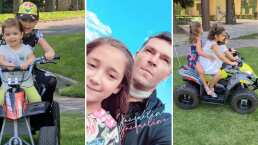 Las hijas de Jacky Bracamontes ya andan en moto y hasta llevan de paseo a su papá
