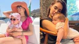 Sin perder el estilo, la hija de Sharon Fonseca estaba muy sorprendida por su primer viaje en yate