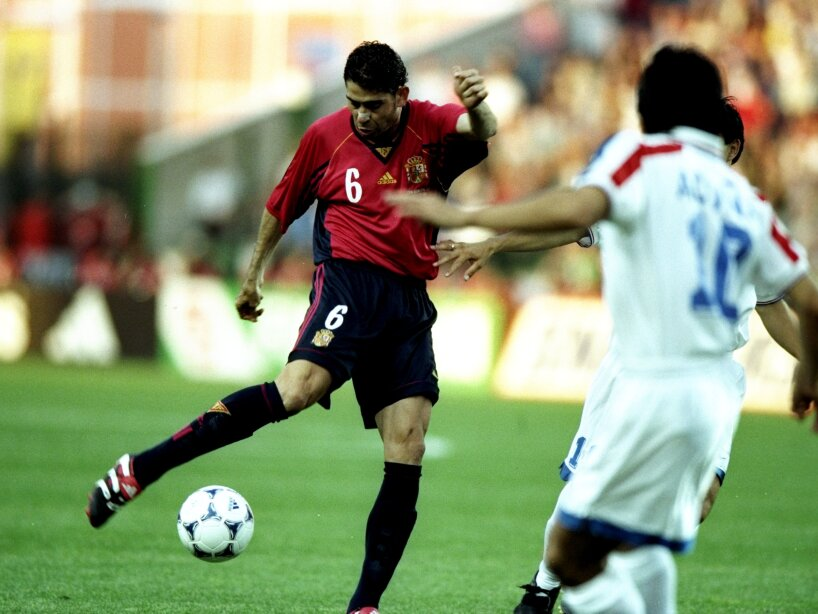 Fernando Hierro of Spain takes a shot at goal