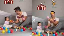 Circo en casa: Adrián Uribe también le enseña a hacer malabares con pelotas a su bebita