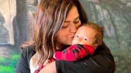 Lucca, bebé de Mariana Echeverría, se hace del baño y mancha la ropa de su mamá