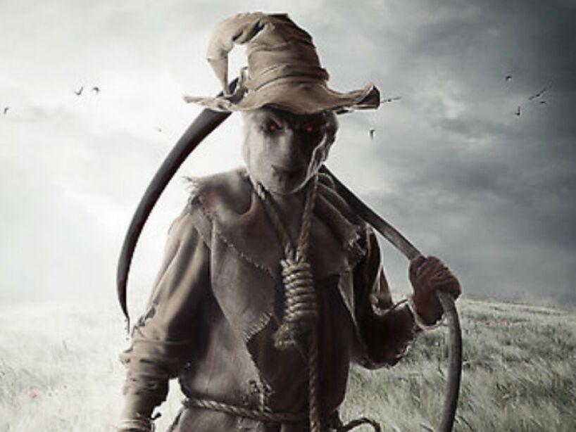 Jack Skellington, el protagonista de The Nightmare Before Christmas de Tim Burton se disfraza de espantapájaros al inicio de la película.