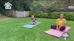 Desde su enorme y hermoso jardín, Galilea Montijo se ejercita junto a su hijo Mateo