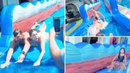 Video: Jacky Bracamontes y Martin Fuentes se divierten como niños junto a sus hijas en un enorme tobogán de agua