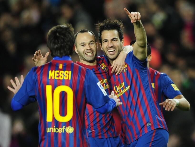 Cesc Fabregas, Lionel Messi, Andres Iniesta