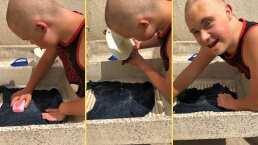 """""""Tállale fuerte"""": Lety Calderón le da lecciones a su hijo Luciano para aprender a lavar a mano"""