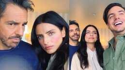 Eugenio y Aislinn Derbez se burlan de las caras que hace Vadhir en las fotos