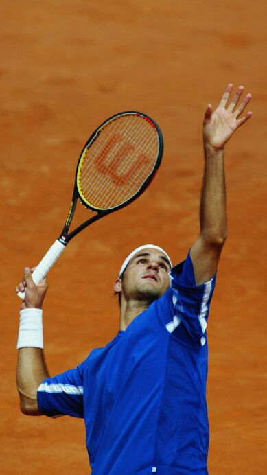 Roger Federer of Switzerland serves