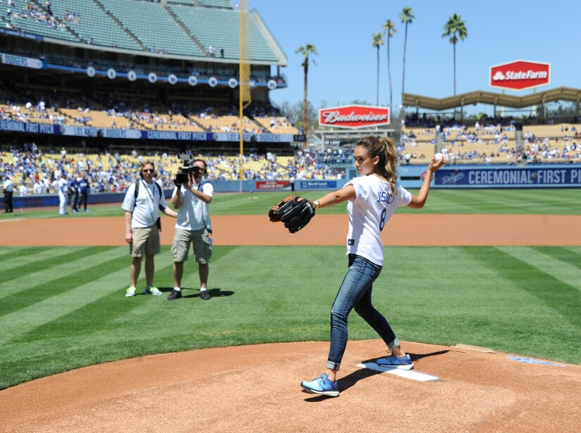 Jessica Alba Throws First Pitch During Los Angeles Dodgers vs Milwaukee Brewers