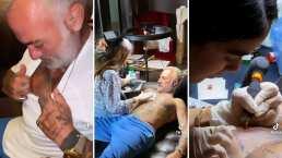 Gianluca Vacchi se deja tatuar por Sharon Fonseca y obtiene un adorable corazón