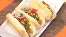 Receta: Hot dogs con pimientos al Chimichurri