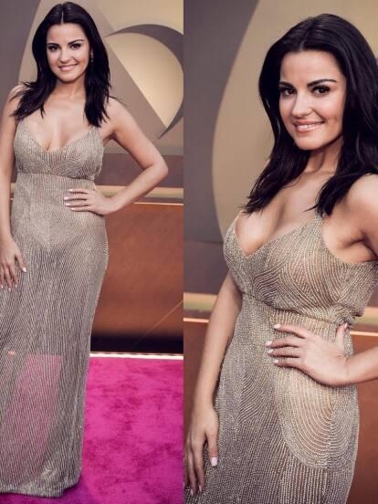 Maite Perroni desfiló en la alfombra magenta con un vestido que favoreció su figura.