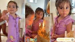 Así como en video viral, melliza de Jacky Bracamontes sopla las velas del pastel de su hermana