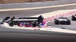 ¡Carrera loca! Lance Stroll terminó volcado en Bahrein