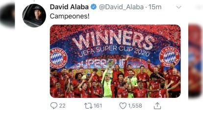 El Bayern Múnich vence 2-1 al Sevilla en la Supercopa de Europa, y las redes sociales se llenaron de celebraciones de los jugadores.