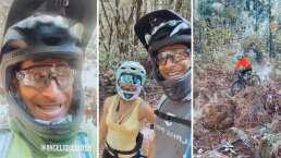 Sebastián Rulli le echa porras a Angelique Boyer mientras baja una montaña en bicicleta: 'No te vayas a caer'