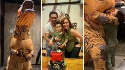 ¡Paparaptor! Marcus Ornellas se disfraza de T-Rex para sorprender a su hijo en su cumpleaños