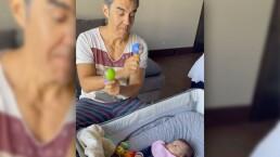 Video: Adrián Uribe se derrite de amor por su hija recién nacida
