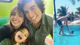 Hijo de Michelle Renaud le juega travesura a Danilo Carrera y termina 'aventándolo' al agua
