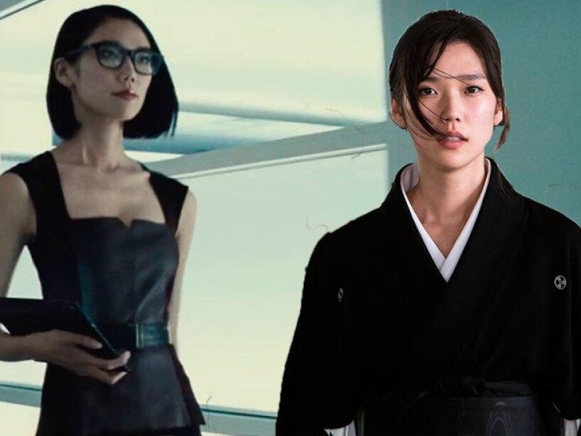 Tao Okamoto como Mariko Yashida en Wolverine y la asistente Mercy Graves en Batman v Superman.