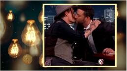 ¡Johnny Depp impacta con tremendo beso a Jimmy Kimmel!