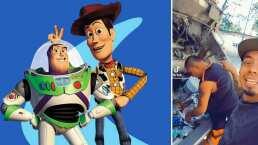 Recolectores de basura al estilo de Woody y Buzz Lightyear recrean escena de 'Toy Story'