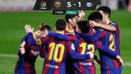 Los espectaculares dobletes de Messi y Trincao en goleada de Barcelona