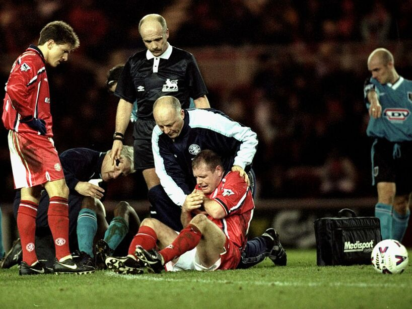 Paul Gascoigne of Middlesbrough is injured