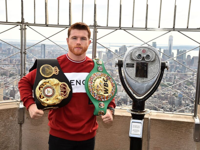 Empire State Building Hosts Boxing Champs Canelo Alvarez And Rocky Fielding