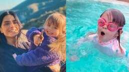 Kailani deja los flotis, la hija de Aislinn Derbez ya está nadando sola