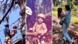 Kailani se avienta de una tirolesa y Aislinn Derbez es la mamá más orgullosa