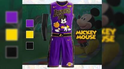 Así 'brillarían' los uniformes de la NBA si los vistiera Disney | Los LA Lakers lucen espectaculares con Mickey Mouse.