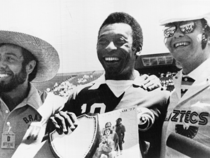 PELE WITH MENDES AND ELTON JOHN 1977
