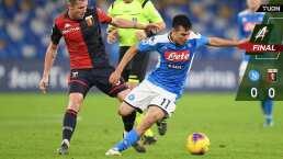 Empate sin goles entre Napoli y Genoa; Chucky juega los 90