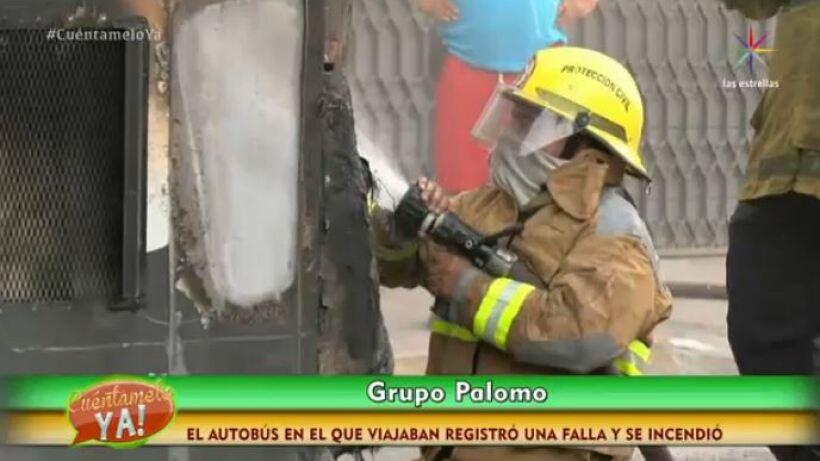 """¡Checa detalles del incendio del camión del grupo """"Palomo""""!"""