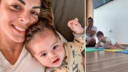 Ale Rivera, 'La Jarocha', presume orgullosa que su bebita Luciana ¡ya gatea!