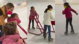 Jacky Bracamontes y sus hijas armaron carreritas sobre hielo