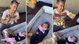 Con todo y sonajas, Adrián Uribe y su bebita Emily se divierten como nunca