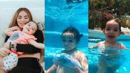 Kima, hija de Kimberly Loaiza ya hace bucitos en la alberca